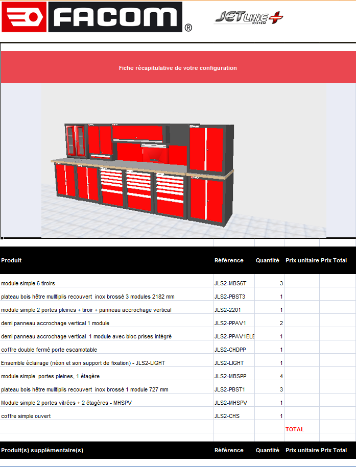 jetline plus configurateur Excel
